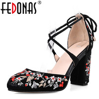 FEDONAS Embroider Sexy Women Sandals High Heels Cross Tied Fashion Summer Party Wedding Femal Shoes Woman