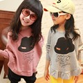 100% cotton fashion clothes Spring and Autumn Children girl's bat sleeve  long sleeve T-shirt for kids  Outerwear  Coat