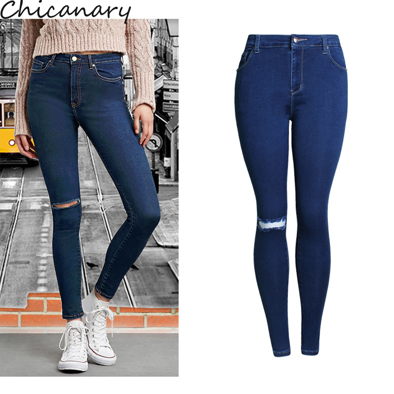 Chicanary High Rise Knee Ripped Skinny Jeans Women Slim Denim Pants