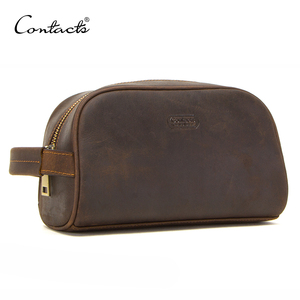Image 1 - CONTACTS cosmetic bag small for men crazy horse leather vintage toiletry case black travel bag hand held make up wash bags male