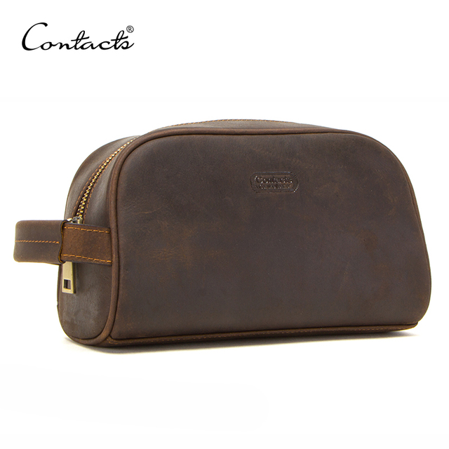 CONTACTS cosmetic bag small for men crazy horse leather vintage toiletry case black travel bag hand held make up wash bags male