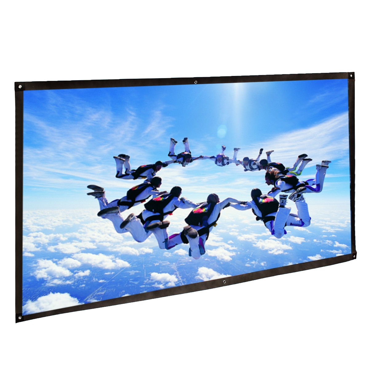 Portable 150 Inch 16:9 Fabric Matte Projector Projection Screen To HD Projector 330*185CM everyone gain projection screen 40 inch 16 9 table screen projector hd screen portable easy carry proyector screen fabric