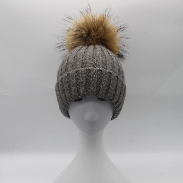 Мех Помпон Шляпы для Женщин Зима Теплая Шерсть Hat Настоящее Енота Норки Мяч Шапочка Cap