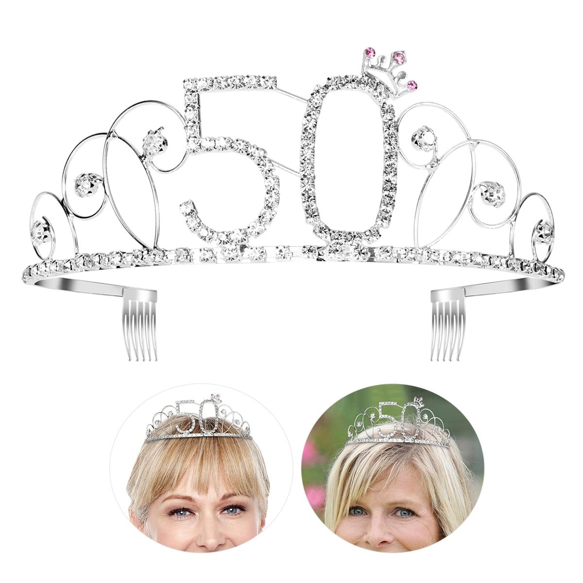 50th Birthday Tiara Bling Rhinestone Tiara 50 Birthday