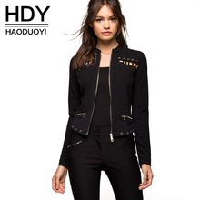 HDY Haoduoyi Solid Black Women Autumn Fashion Jacket Streetwear Zipperfly Basic Bomber Jacket Natural Hollow Out Casual Outwears
