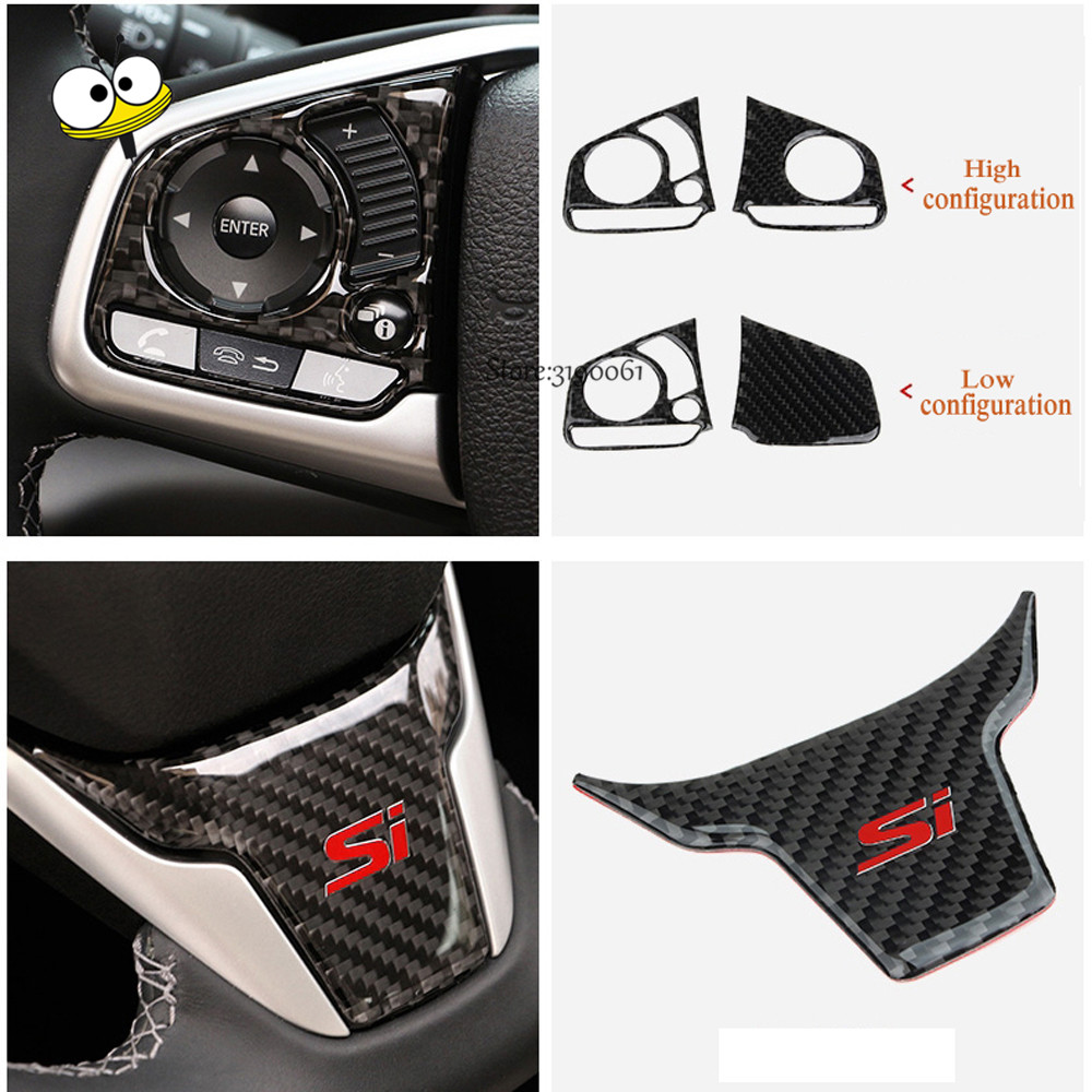Auto Car Styling Carbon Fiber Steering Wheel Sticker Decoration Frame Trim Steering Wheel Button Cover for Honda Civic 2016 2017 hot car abs chrome carbon fiber rear door wing tail spoiler frame plate trim for honda civic 10th sedan 2016 2017 2018 1pcs