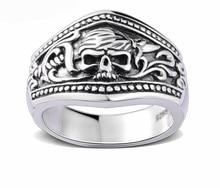 Bandas de anillos de plata de ley 925 hombres del cráneo del pirata para los hombres