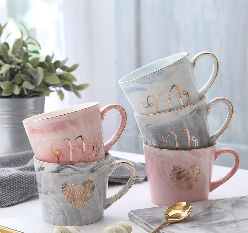 Расписанную Золотой вензель натуральный Мрамор фарфор Кофе кружка мистер и миссис Чай молока чашку творческий свадебные Юбилей подарок
