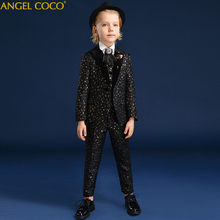 Black gold leopard print Boys suits for weddings Prom Suits