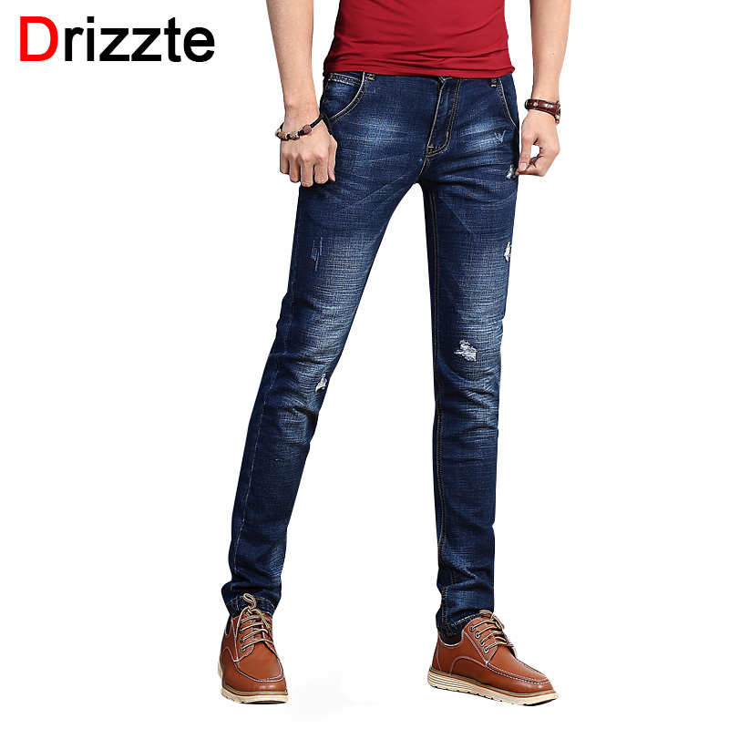 Drizzte Fashion Men's Jeans Summer Ripped Holes Blue Thin Stretch Denim Men Slim Fit Jeans Size 30 32 34 35 36 38 Pants Jeans men s cowboy jeans fashion blue jeans pant men plus sizes regular slim fit denim jean pants male high quality brand jeans