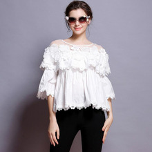 Shirt Womens Blouses 2017 Off Shoulder Top Summer Pinkboll Lace Tops KoreanFashion Clothing Embroidery Blouse Blusa Feminino