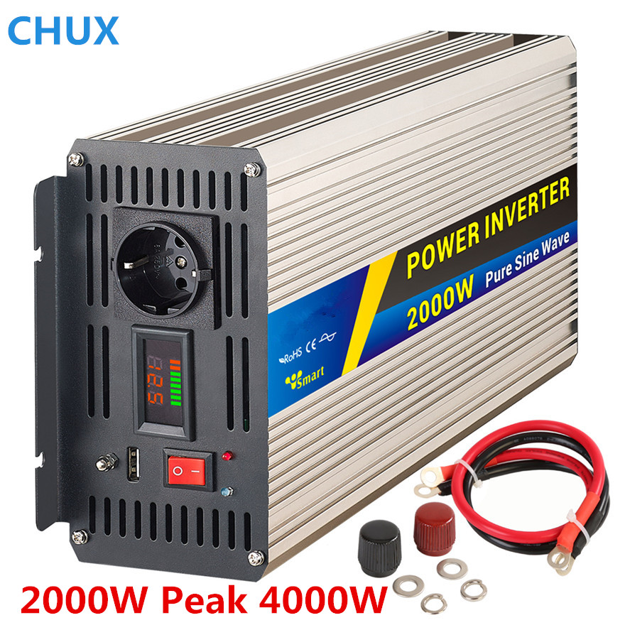 Power <font><b>Inverter</b></font> 2000W peak <font><b>4000W</b></font> Pure sine wave Switch Power supply dc to ac <font><b>12V</b></font> 24V to 110 220V 50HZ off <font><b>inverter</b></font> image