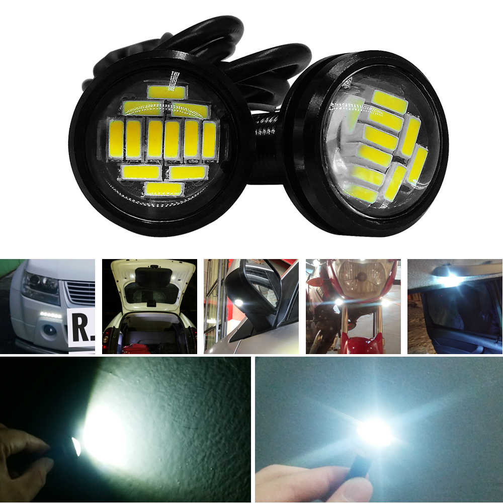 2Pcs 4014 23MM 12SMD Car Eagle Eye Light Source DRL Led Daytime Running Lamp Backup Reversing Parking Signal Lamp Reverse Lights