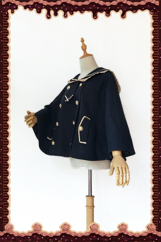 Style wine Poncho Blue Par Ours Preppy Doux dark Oreille black Red Brown Cape Veste Navy Lolita Infante dqZPPwxT