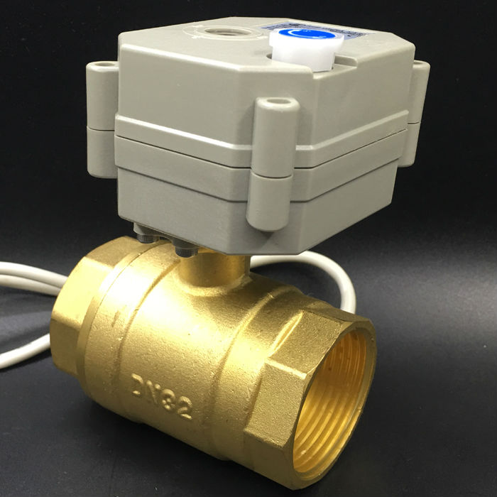 BSP or NPT 1-1/4'' AC/DC9-24V 3 Wires Electric Valve 2-Way DN32 Motorized Ball Valve With Manual Override TF32-B2-B