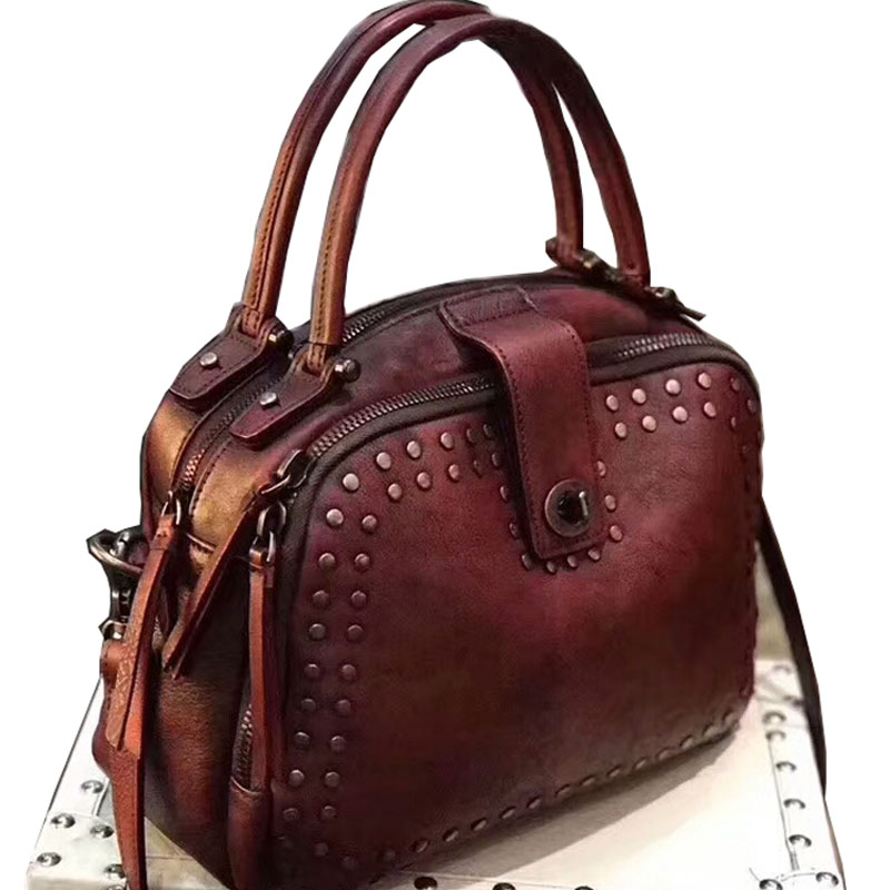 Brand New Designer original handmade women's Cow Leather Genuine cowhide small totes rivets satchel handbags crossbody Bags brand new original genuine switch bns303 12z