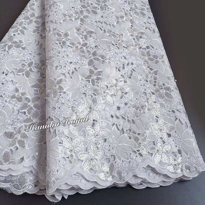 5 yards white Handcut lace fabric African organza lace with lots of sequins high quality and