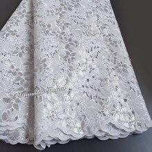 5 yards bianco Handcut tessuto di pizzo organza Africano del merletto con un sacco di paillettes di alta qualità ed esclusivo per la cerimonia nuziale grande occasione