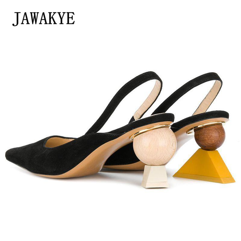Nouveau Sexy Géométrique Bloc talon Sandales Femmes Noir Pointu Étrange talons hauts Escarpins Gladiateur Sandales D'été Chaussures Femmes