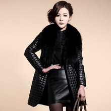 2016 New Clothing Womens Coats Faux Fur Collar Coat Leather Jacket Coats Outerwear Winter Warm Long Parkas Jacket Outwear Q1065