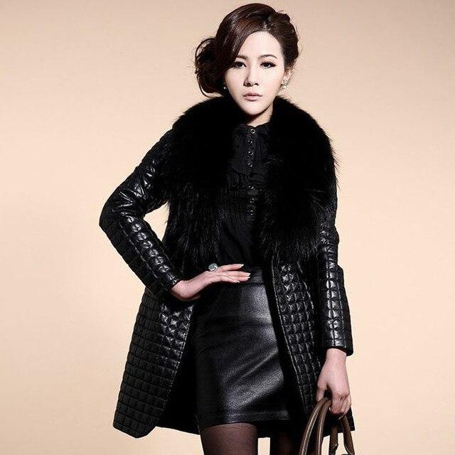 2017 novo clothing casacos das mulheres faux fur gola do casaco de couro casacos outerwear jaqueta de inverno quente longo casaco parkas outwear q1065
