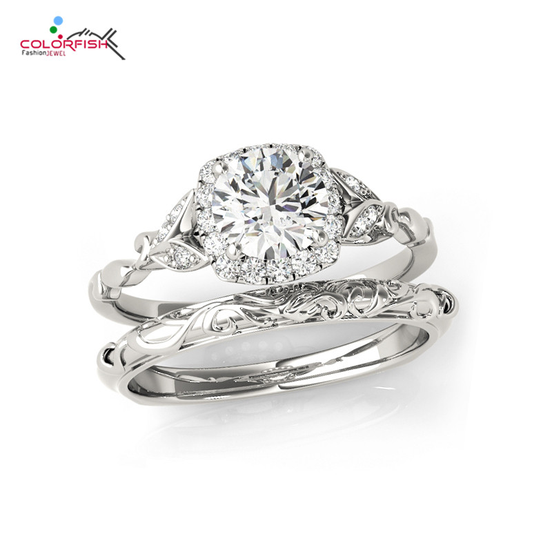 COLORFISH Vintage Style 0 5 Ct Round Cut Solitaire Sterling 925 Silver 2 Pc Wedding Engagement