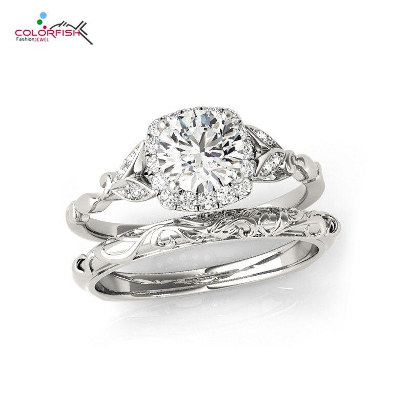 COLORFISH Estilo Vintage 0,5 Ct corte redondo solitario plata 925 2 Pc boda anillo nupcial conjunto de joyas para mujeres-in Anillos from Joyería y accesorios    1
