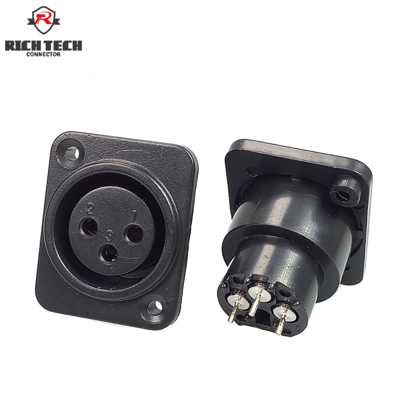 XLR Connector Female Socket 3Pin Panel Mounted Chassis Square Shape MIC Microphone Audio Connecting
