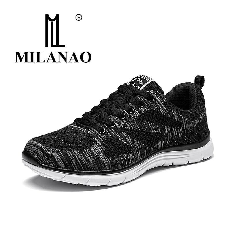 2016 MILANAO New Summer Sports Flyknit Racer Running Shoes For Men & Women Breathable Men'sAthletic Sneakers Krasovki zapatillas