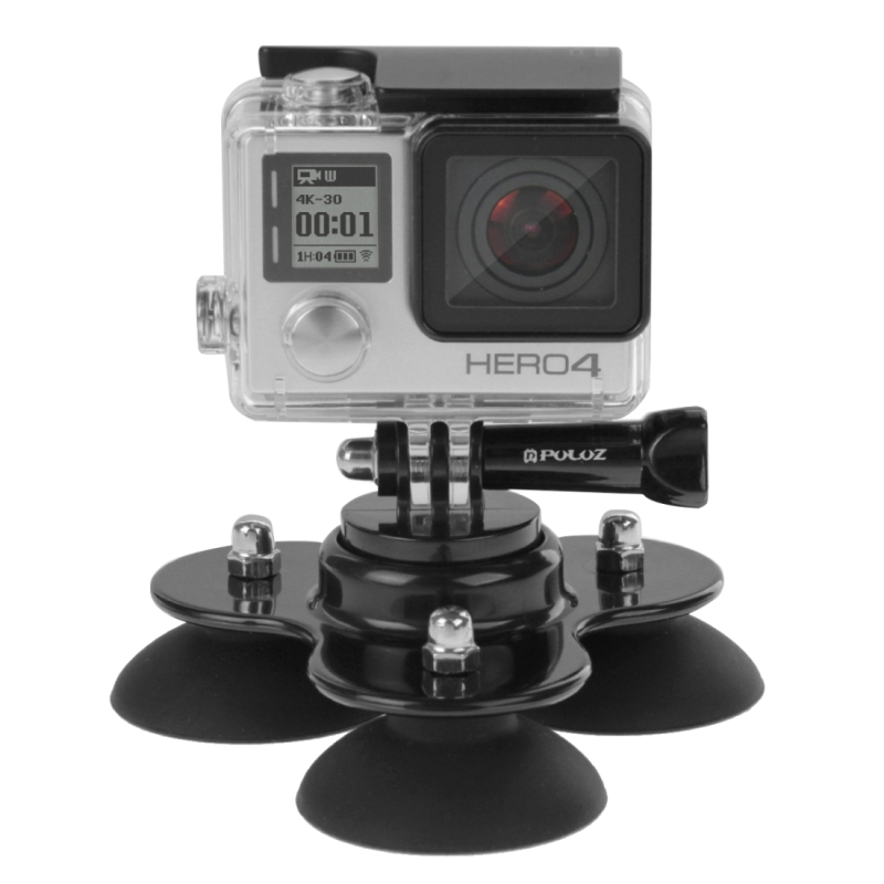 PULUZ Triangle Suction Cup Mount with Screw for GoPro NEW HERO /HERO6 /5 /5 Session /4 Session /4 /3+ , Xiaoyi and so on.