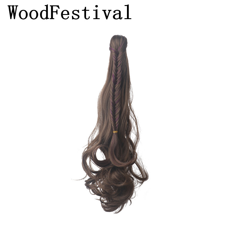 WoodFestival 24 inch black brown claw clip ponytail hair extensions hairpieces for women synthetic ponytails(China)