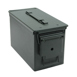 Caja de municiones de acero de 50 Cal, caja de municiones de acero militar y militar sólido soporte táctico a prueba de agua para almacenamiento de balas de larga duración