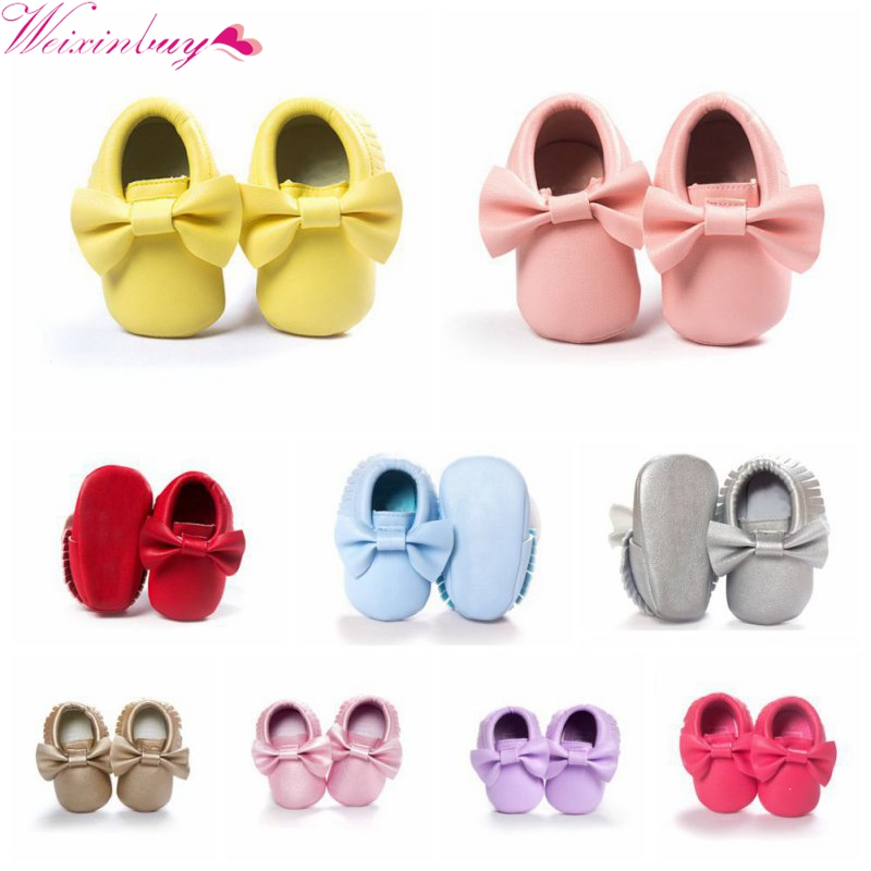 2018 New 22 Colors Tassels Baby Moccasin Newborn Babies Shoes Soft Bottom PU leather Prewalkers Boots