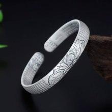 8MM 100% 925 Sterling Silver Vintage Six words Bracelets Women Men Fine Jewelry S925 Solid Thai Silver Cuff Mantra Bangles