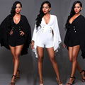 Sexy deep V neck jumpsuit slim black and white two colors playsuit button long sleeve irregular hem T96