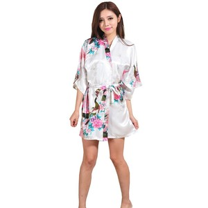 Image 4 - Silk Satin Wedding Bride Bridesmaid Robe Floral Bathrobe Short Kimono Robe Night Robe Bath Robe Fashion Dressing Gown For Women