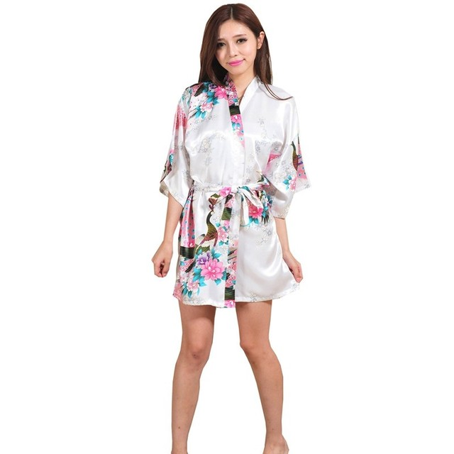 Silk Bathrobe Short Kimono Robe Night