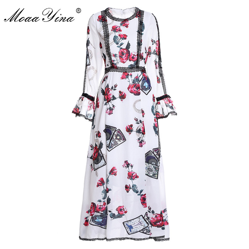 MoaaYina Fashion Designer Runway Maxi Dress Spring Women Flare sleeve Rose Floral Print Lace Casual Holiday Elegant Slim Dress