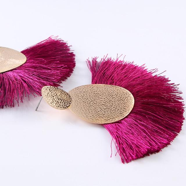 Bohemian Ethnic Fashion Big Fan-Shaped Tassel Earrings for Women Gold Exaggerated Large Fringed Dangle Drop Earrings Jewelry