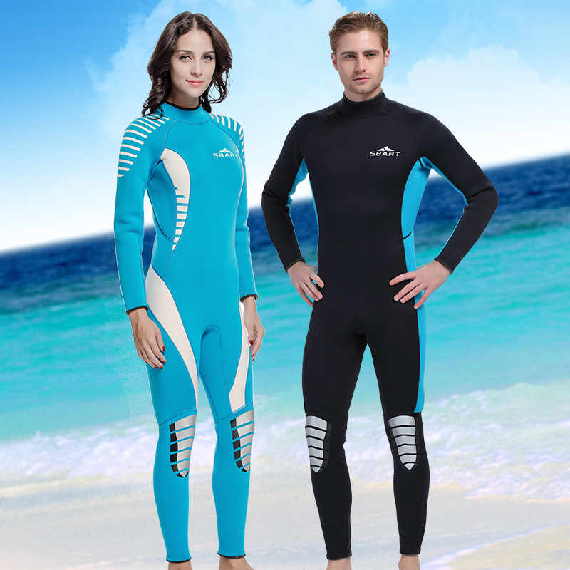 Lovers 3mm one-piece Neoprene Wetsuit unisex thick full body Diving suit winter cold-proof black blue swimming snorkeling suit men s winter warm swimwear rashguard male camouflage one piece swimsuit 3mm neoprene wetsuit man snorkeling diving suit