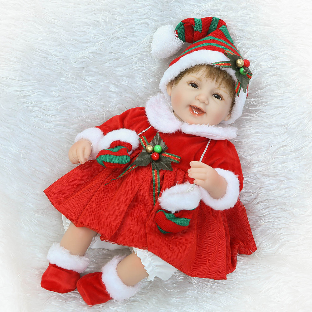 ФОТО 40CM Silicone Reborn Babies Dolls With Christmas Clothes For Girls Toys Lifelike Newborn Baby Bonecas Birthday Gifts
