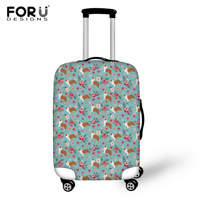 FORUDESIGNS Australian Shepard Flower Print Thick Elastic Luggage Protective Cover With Zipper Dustproof Travel Suitcase Cover