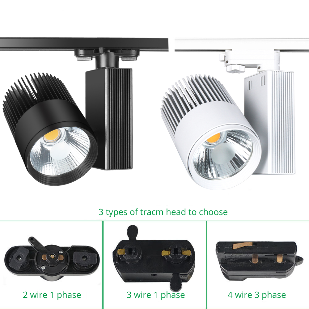 Modern LED Track Lights 40W Spot Rail Lamp 2/3/4 Wire Phase Clothes Shoes Stage Spotlight Lighting COB Tracking Light Fixtures