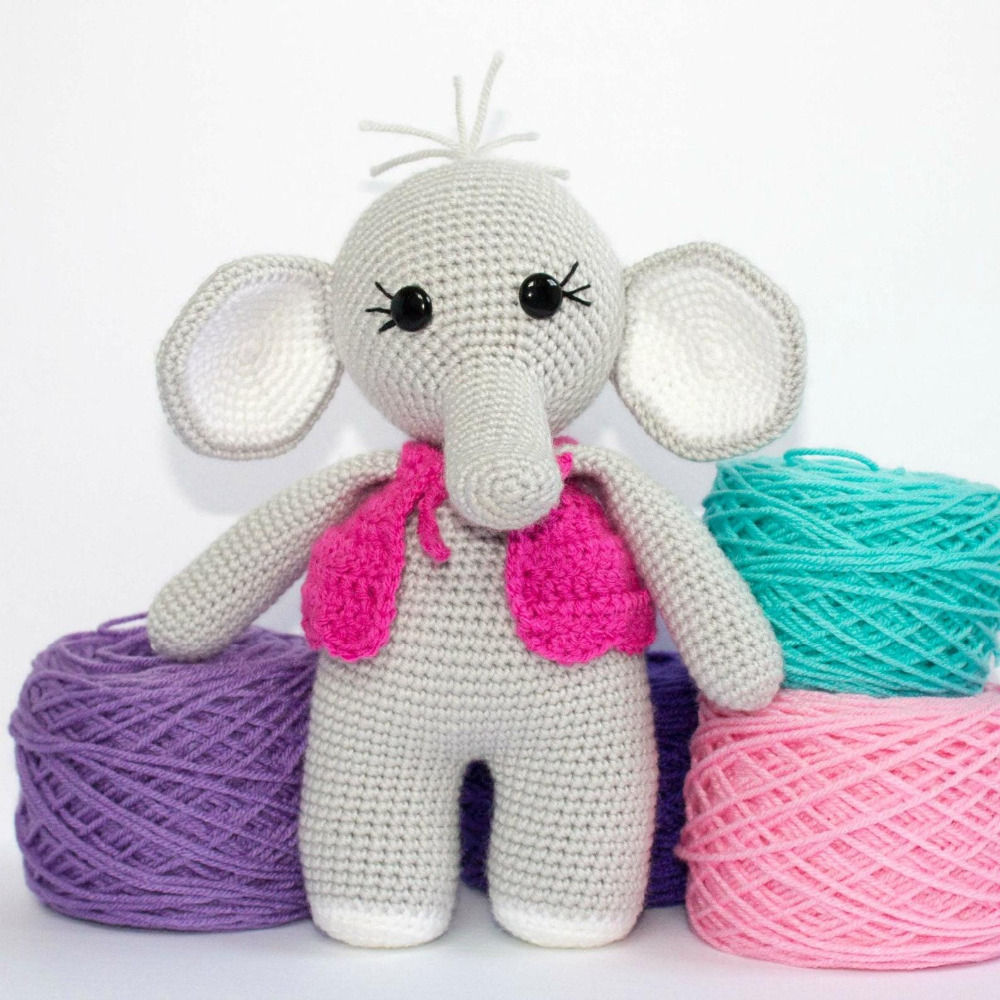 Crochet Toys  Amigurumi    Doll   Cute  Elephant     Model  Number  SQ0018