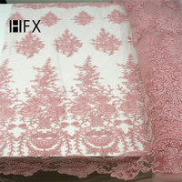 Latest Luxury 3D Handmade beaded embroidery bridal african lace fabrics manual nail beads french lace fabric F1628
