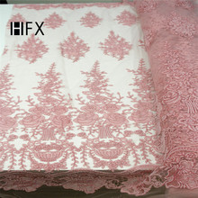 Latest Luxury 3D Handmade beaded embroidery bridal african lace fabrics manual nail beads french fabric F1628