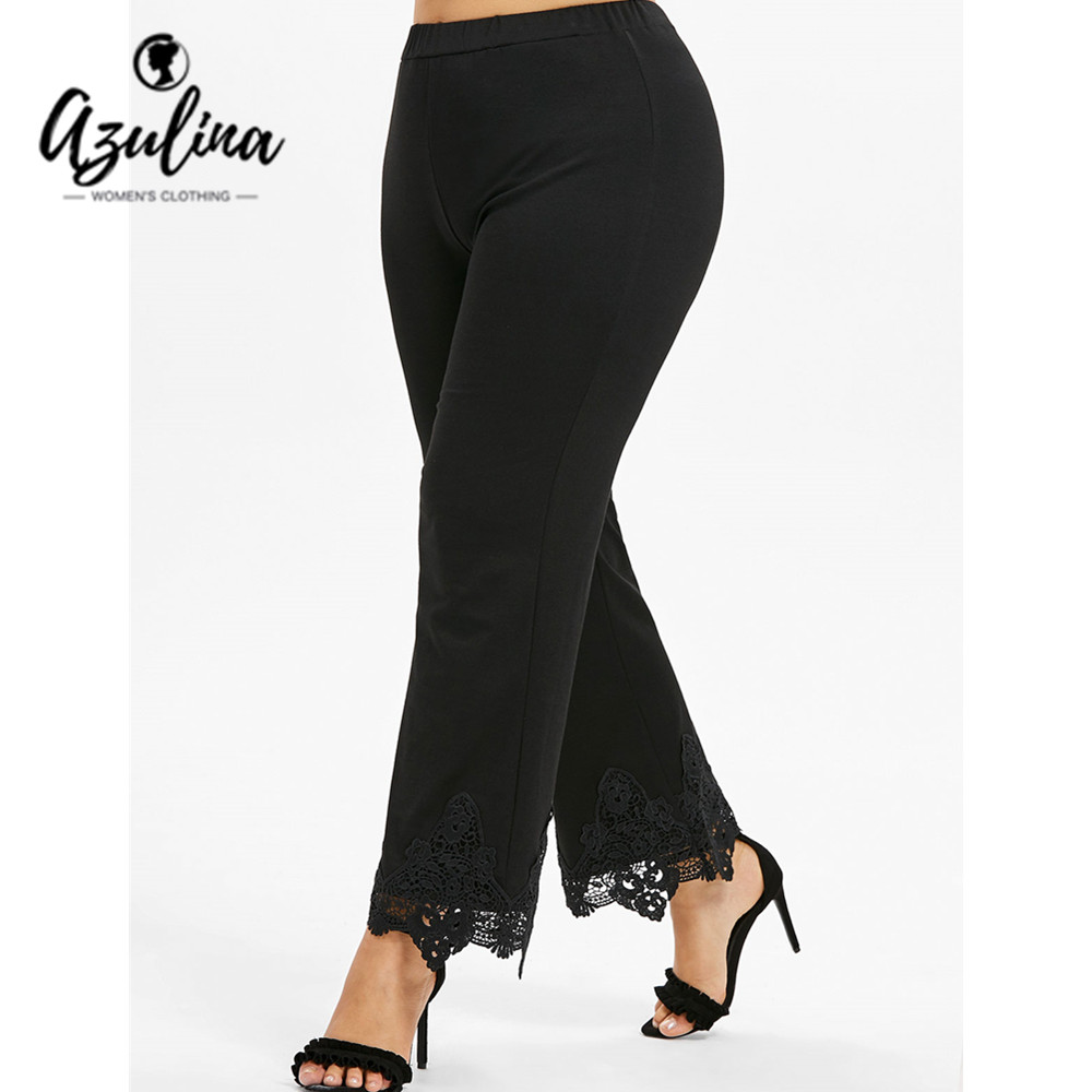 AZULINA Plus Size Crochet Scalloped   Pants   Women Loose Black High Waist   Wide     Leg     Pants   Casual Trousers Big Size Women'S Bottoms