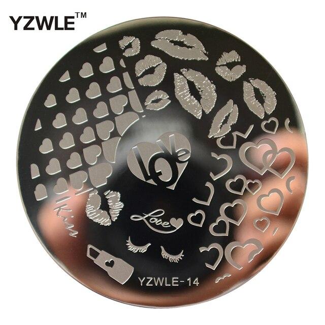 1 blad Stempelen Nail Art Image Plate, 5.6 cm Rvs Template Polish Manicure Stencil Gereedschap (YZWLE-14)