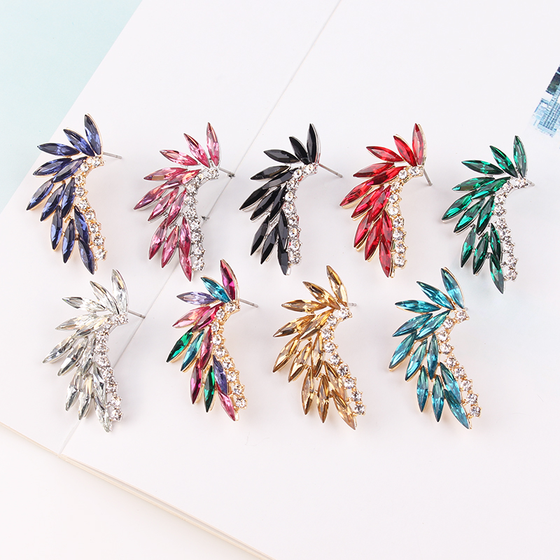 LUBOV brillant strass ailes boucles d'oreilles acrylique cristal pierre femmes Piercing boucles d'oreilles bijoux de mariage à la mode cadeau de noël 1