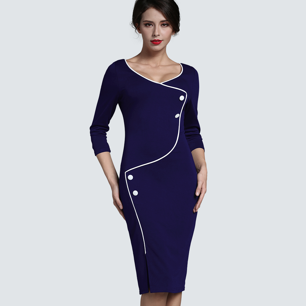 Podzim Volitelné iluze Slim Fitted Pencil Midi Robe Business Women Office V Neck Back Zipper Buttons Split Pencil Dress HB329
